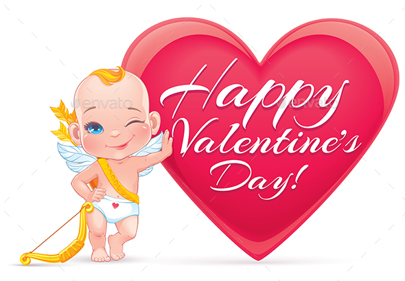 Valentine's Day Card with Baby Cupid - Valentines Seasons/Holidays