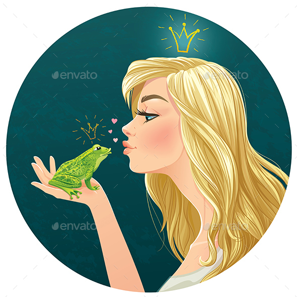 Lady Kisses a Frog - People Characters