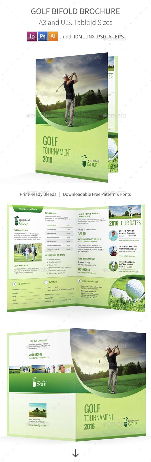 Golf Club Bifold / Halffold Brochure - Informational Brochures