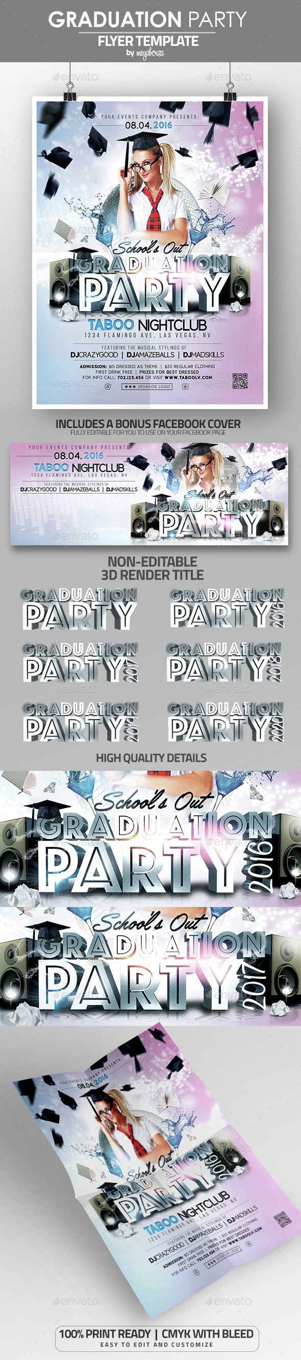 Graduation Party Flyer / Poster Template - Clubs & Parties Events