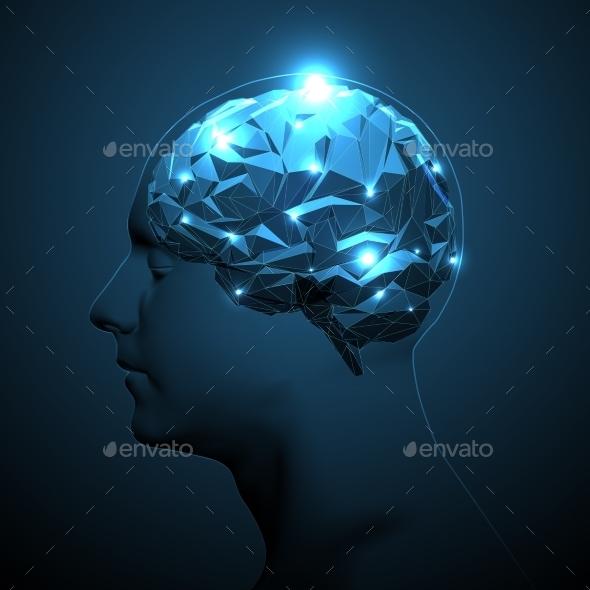 Human Head Silhouette with Active Brain - Health/Medicine Conceptual