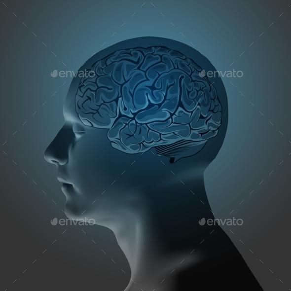 Abstract Human Head with a Brain - Health/Medicine Conceptual