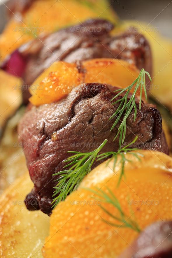 Shish kebab with oranges - Stock Photo - Images