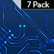 Electric Circuit Board Animation Blue Background-7 Pack - VideoHive Item for Sale