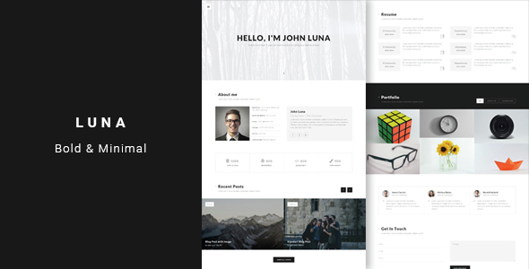 Luna – Bold & Minimal Personal vCard Template
