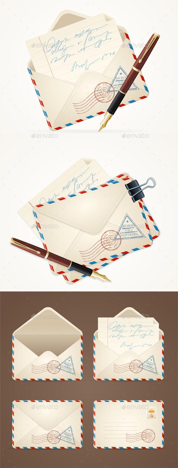 Letter Mail Vintage Set - Miscellaneous Conceptual