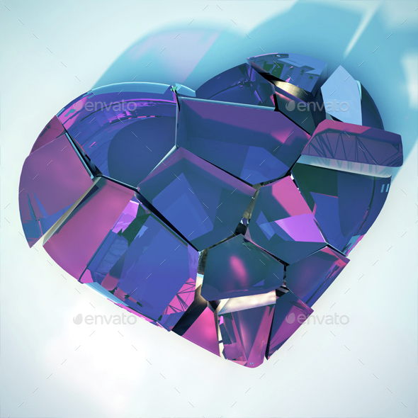 Broken Heart - Objects 3D Renders