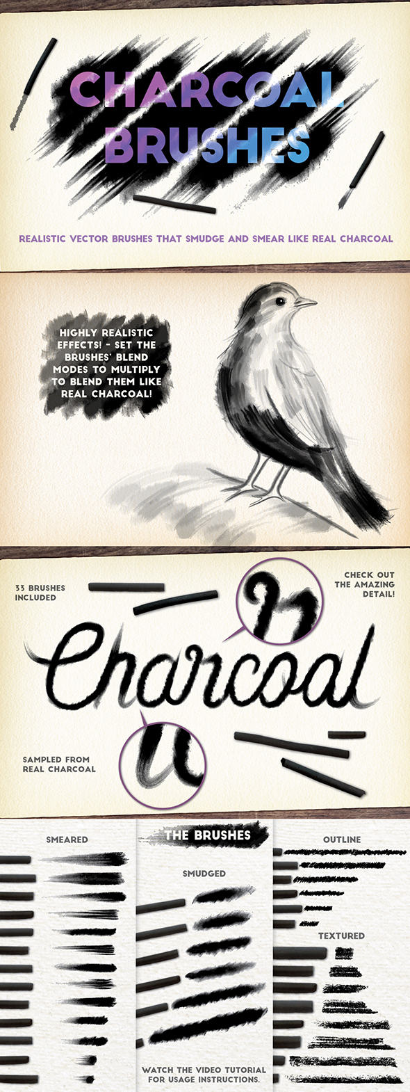 Charcoal Brushes - Brushes Illustrator