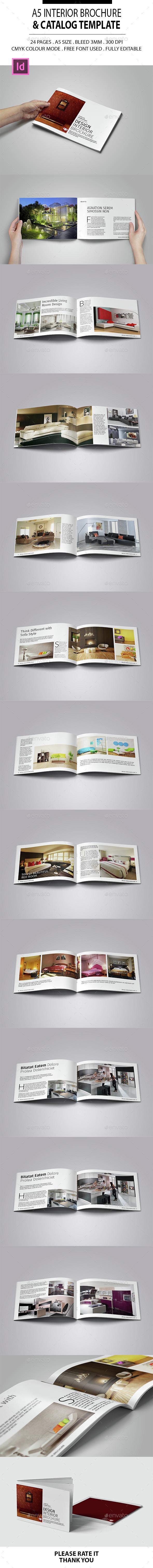 A5 Interior Brochure & Catalog Template - Brochures Print Templates