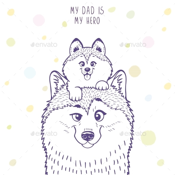 Husky Dad with a Son - Animals Characters