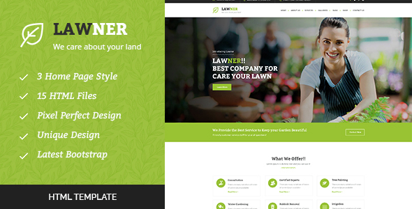 Lawner – Gardening and Landscaping HTML Template