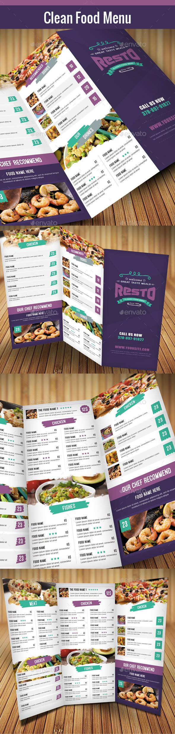 Clean Food Menu 03 - Food Menus Print Templates