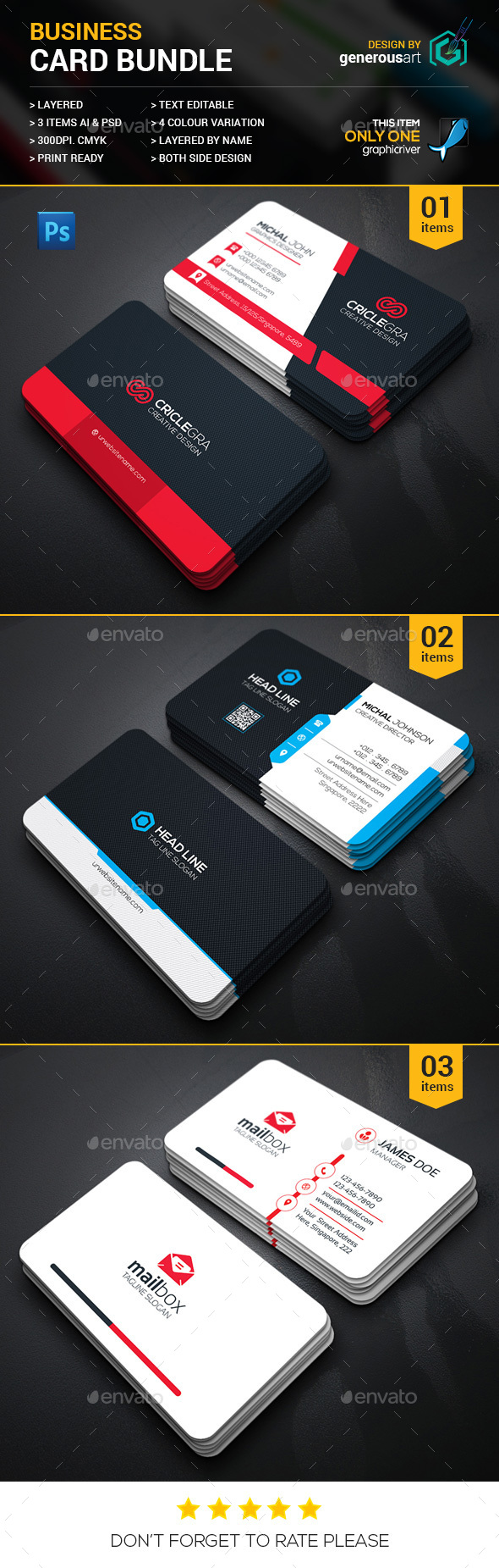 High Quality Business 3 in 1 - Corporate Business Cards