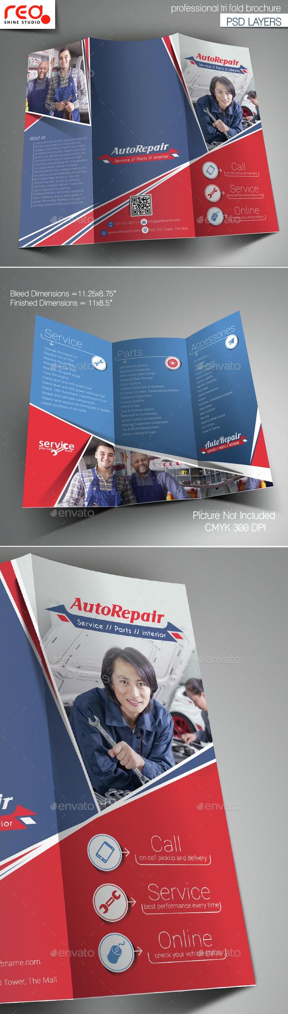 Auto Center Trifold Brochure Template - Corporate Brochures