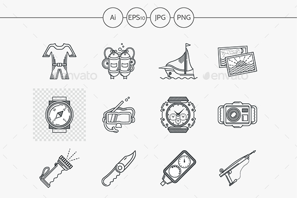 Black Line Vector Icon for Snorkeling - Objects Icons