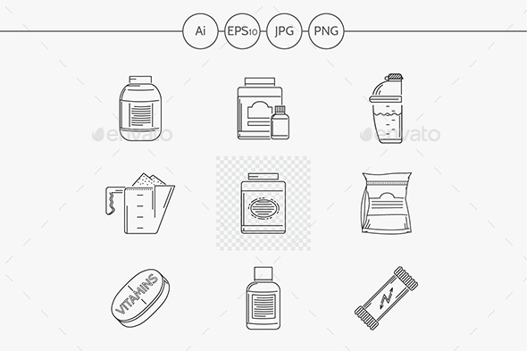 Sport Nutrition Line Vector Icons - Food Objects