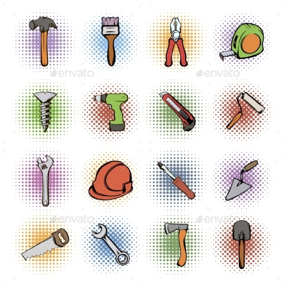 Building Comics Icons Set - Miscellaneous Icons