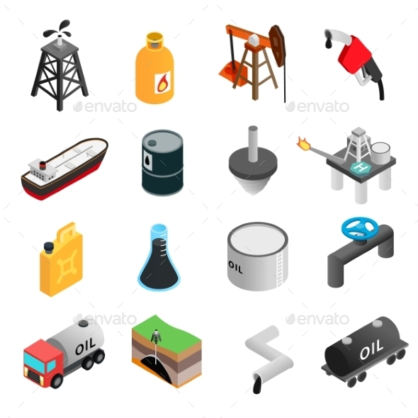Oil Industry Isometric 3d Icons - Miscellaneous Icons