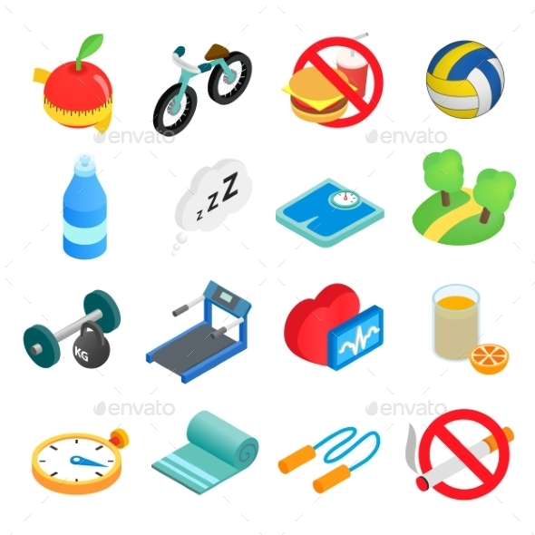 Healthy Lifestyle Isometric Icons - Miscellaneous Icons