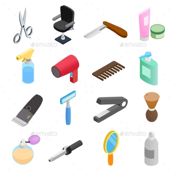 Barber Shop Isometric 3d Icons - Miscellaneous Icons