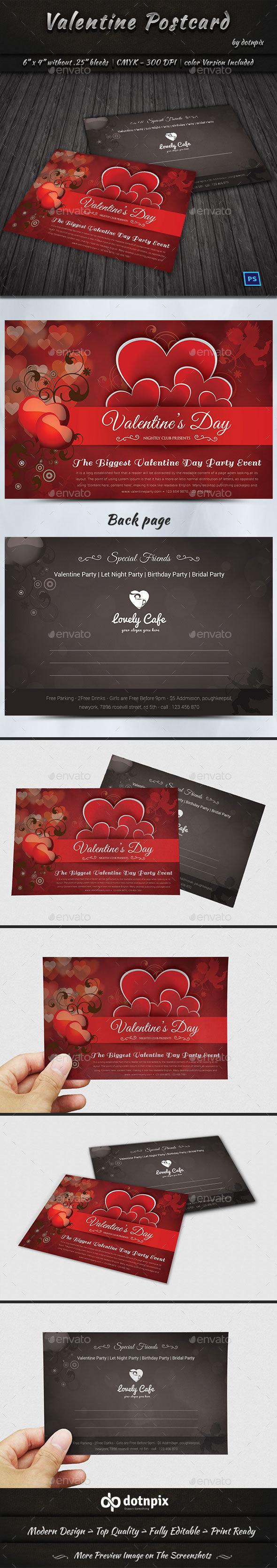 Valentine Postcard - Cards & Invites Print Templates