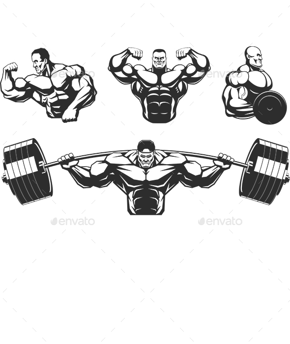 Silhouettes Athletes Bodybuilding - Sports/Activity Conceptual