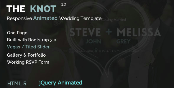 The Knot – Wedding Animated HTML Template