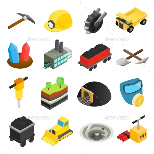 Mining Isometric 3d Icons - Miscellaneous Icons