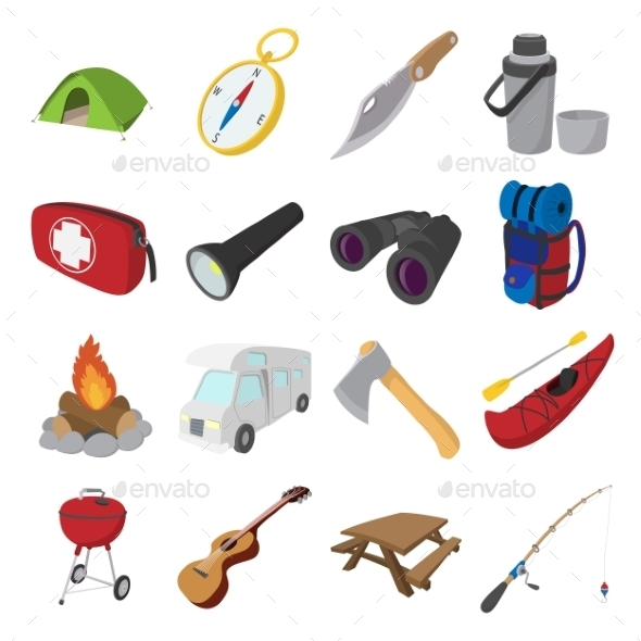 Camping Cartoon Icons - Miscellaneous Icons
