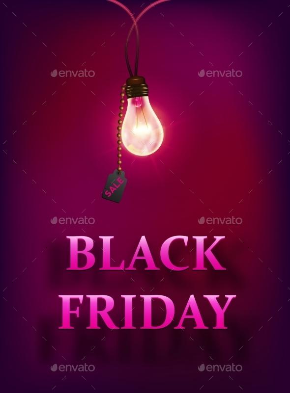 Black Friday Sale Background with Lamp - Decorative Symbols Decorative