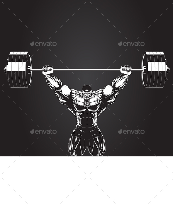 Bodybuilder with a Barbell - Sports/Activity Conceptual