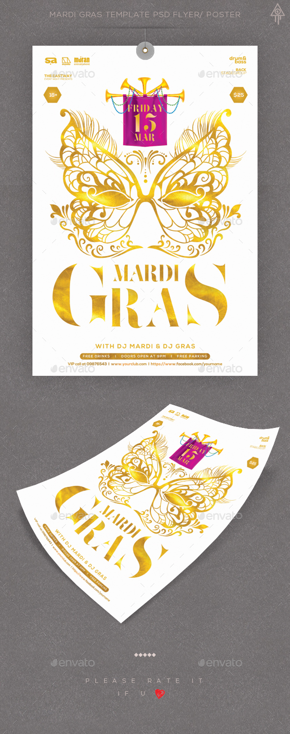 Mardi Gras Template PSD Flyer/ Poster - Clubs & Parties Events