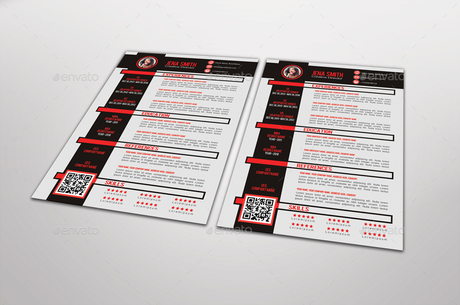 redvi resume template design by graphicsdesignstudio