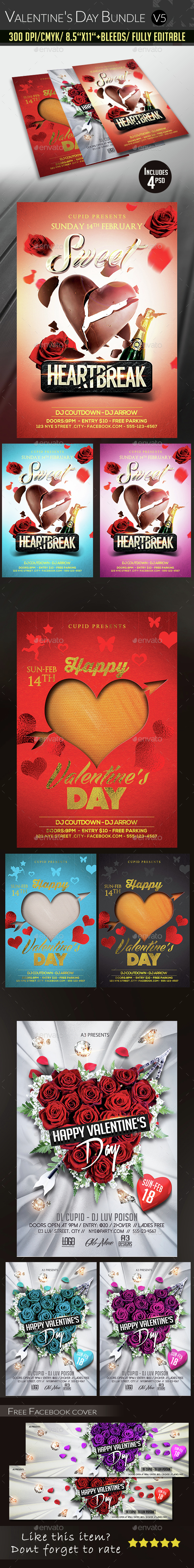 Valentine's Day Flyer Bundle v5 - Clubs & Parties Events