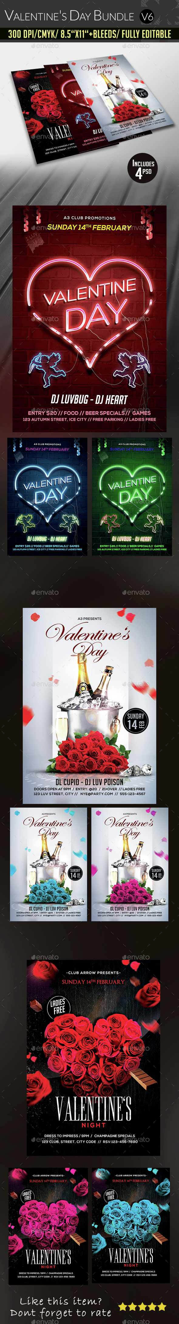 Valentine's Day Flyer Bundle v6 - Clubs & Parties Events