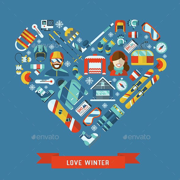 Love Winter Flat Icons Heart Concept - Sports/Activity Conceptual