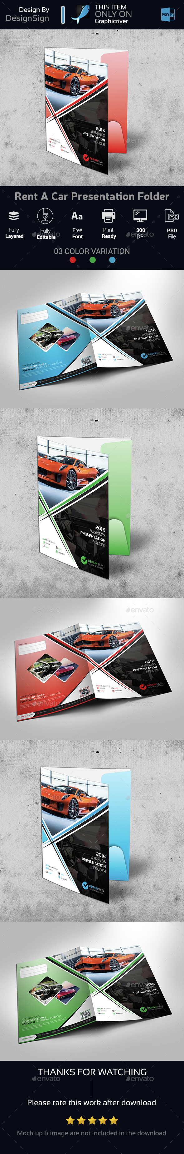 Rent A Car Presentation Folder - Stationery Print Templates