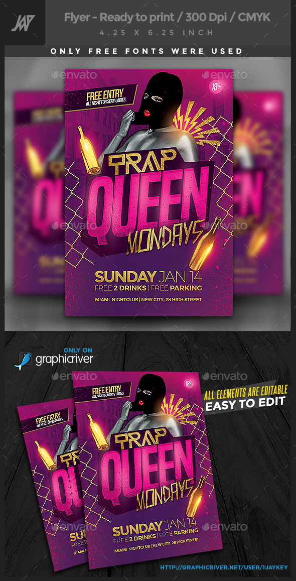 Trap Queen Party Flyer - Clubs & Parties Events