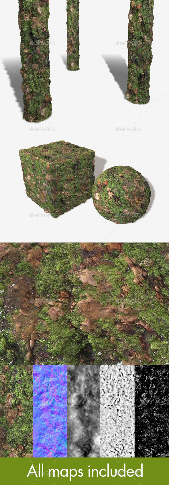 Thick Mossy Bark Seamless Texture 1 - 3DOcean Item for Sale