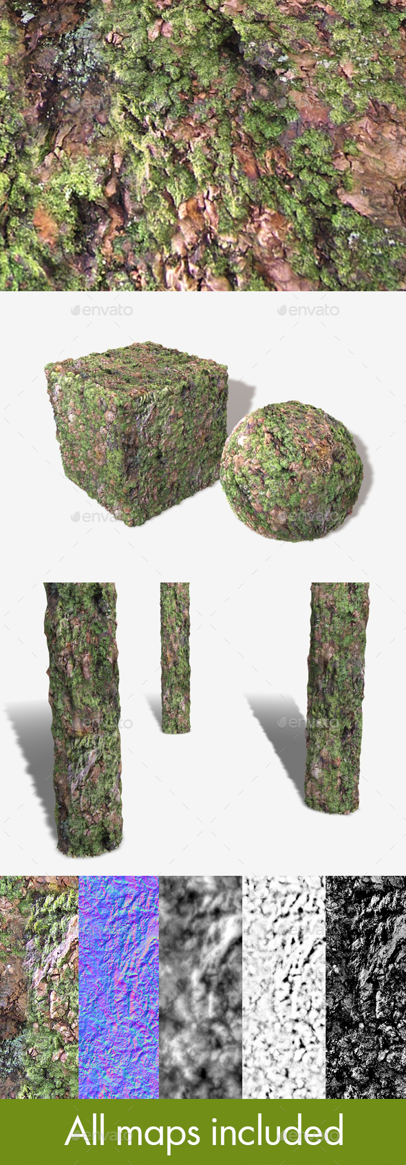 Thick Mossy Bark Seamless Texture 02 - 3DOcean Item for Sale