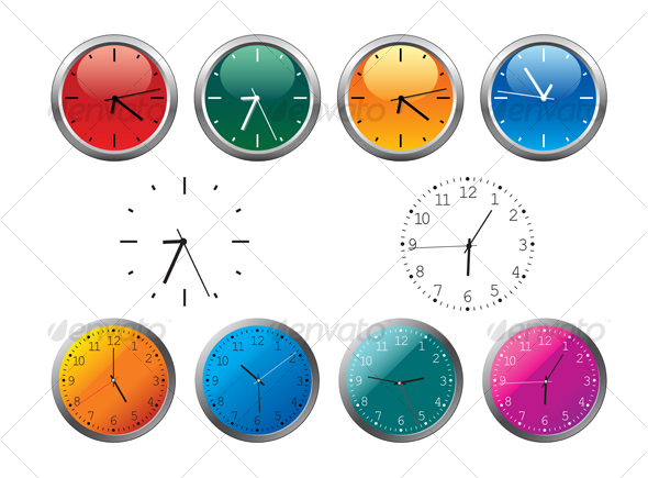 Office clocks and dial - Objects Vectors