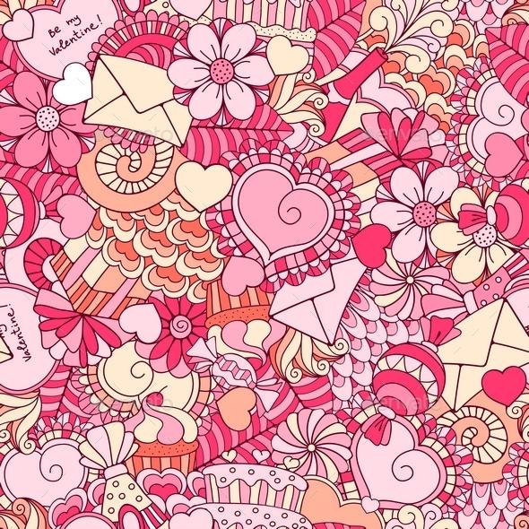 Valentines Day Seamless Background - Valentines Seasons/Holidays