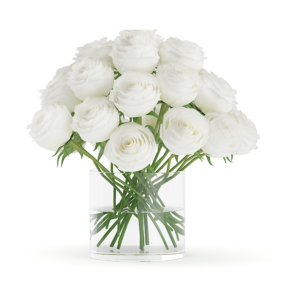 White Roses in Glass Vase - 3DOcean Item for Sale