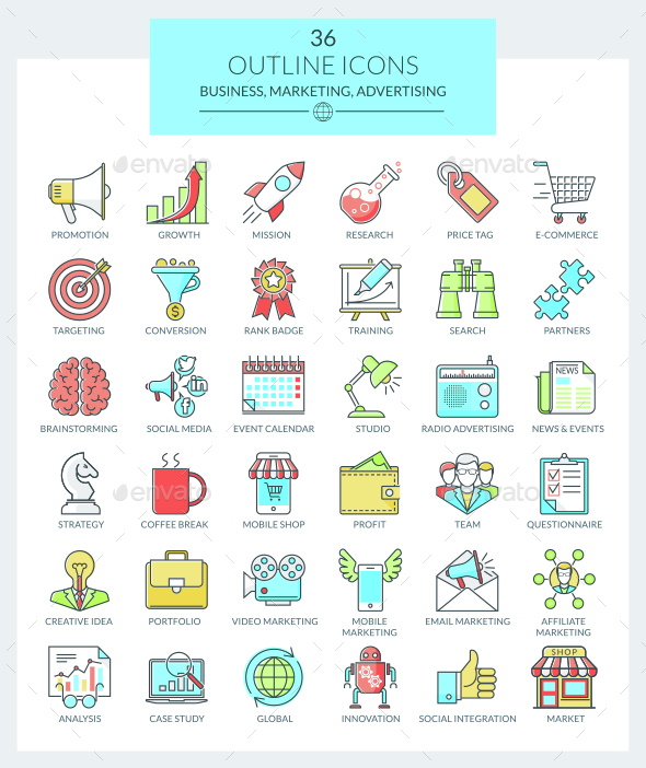 Outline Icons Business and Marketing (Color) - Business Icons