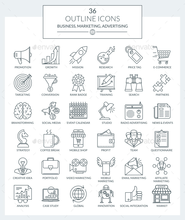 Outline Icons Marketing and Advertising - Business Icons