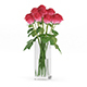 Red Roses in Glass Vase