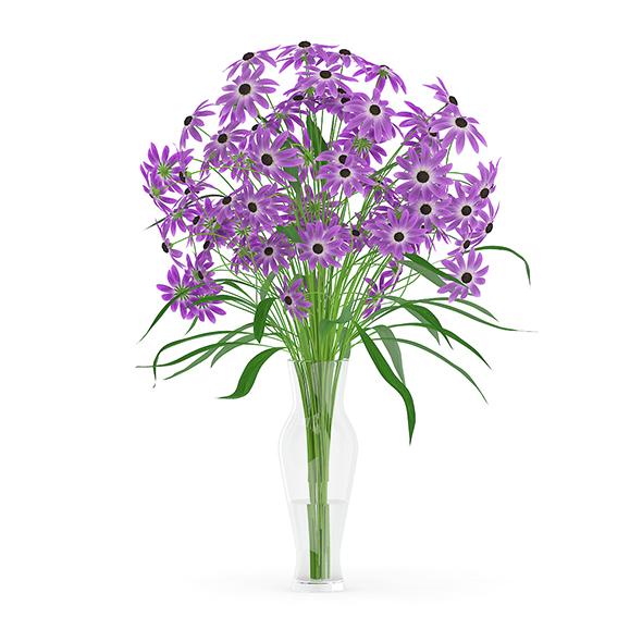 Purple Flowers in Glass Vase - 3DOcean Item for Sale