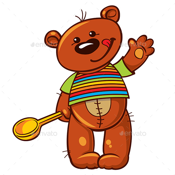 Teddy Bear with a Wooden Spoon - Miscellaneous Characters