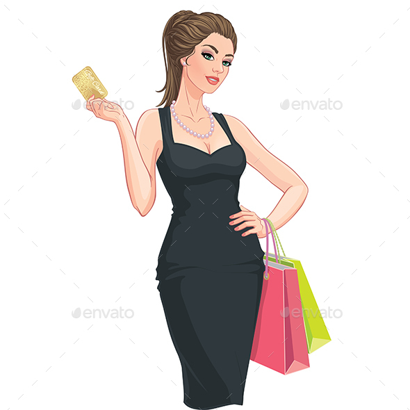 Young Woman with Shopping Bags and Discount Card - People Characters