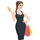 Young Woman with Shopping Bags and Discount Card - GraphicRiver Item for Sale